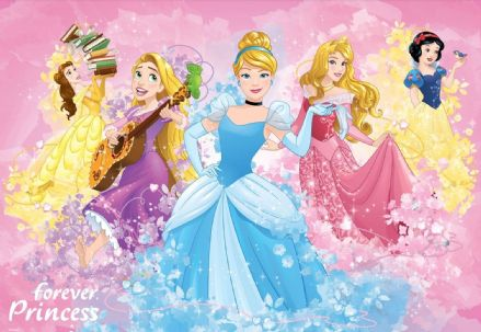 Photo wallpaper Disney Princess pink